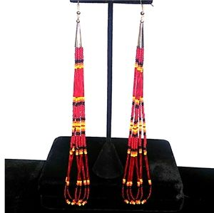 LONG VTG Native American Style Seed Bead Earring